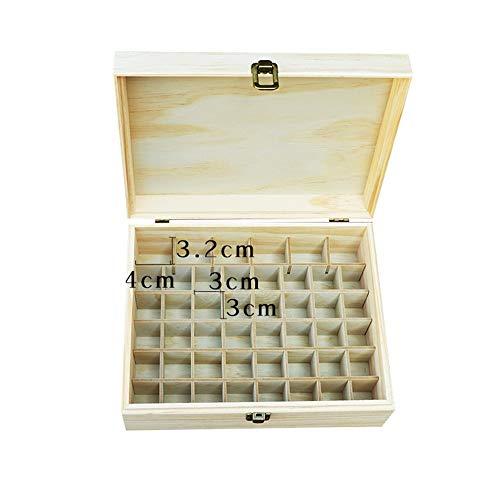 Zengqhui Huile Essentielle Boîte en Bois Grand 46 Bouteilles en Bois Huiles essentielles Boîte de Rangement, 22.2 * 10.2 * 8.2cm Huile Essentielle Organisateur boîte en Bois