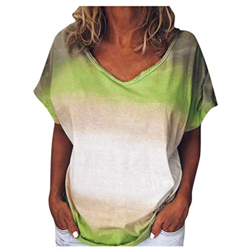 Review Of Womens Plus Size Tie-dye Tops Summer Rainbow Gradient Short Sleeve Tee T-Shirt Loose Tee T...