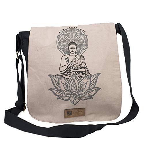 Buddha On Lotus Printed Cotton Canvas Crossbody Messenger Bag-Black