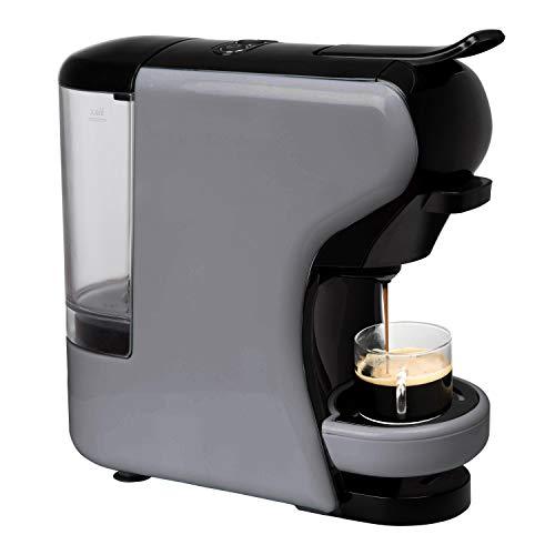 IKOHS Máquina de Café Espresso Italiano - Cafetera Multi Cápsulas Compatible Nespresso 3 en 1, 19 bares con 2 Programas de Café, deposito extraíble, 0,7 L, compacto, 1450 W, apagado automático Gris