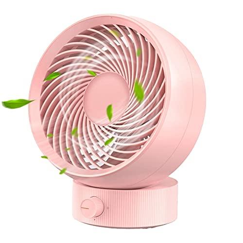 JIEPPTO Mini Ventilador De Escritorio, Ajuste De 4 Velocidades, Carga USB, Operación De Silencio Personal, Portátil, Adecuado para Oficina Y Dormitorio (Color : Pink)
