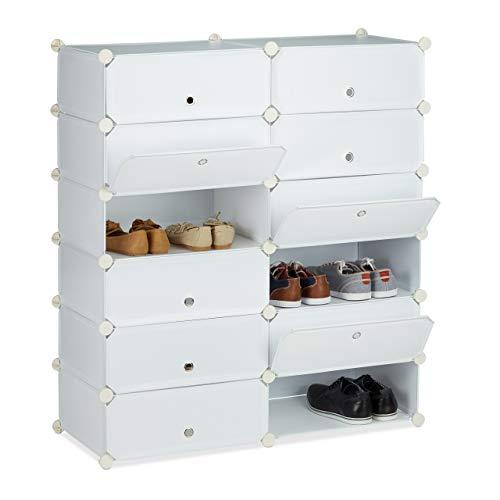 Relaxdays Schuhschrank Kunststoff, Schuhregal geschlossen, Regalsystem 12 Fächer, H x B x T: 108 x 94 x 37 cm, weiß