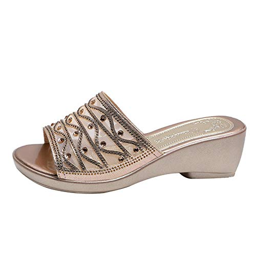 ypyrhh Zapatillas Flip Flops Sandal,Zapatillas de Diamantes de imitación con Boca de pez,Sandalias de cuña Hueca-Golden_39,Chanclas Slider para Hombre Sandalias
