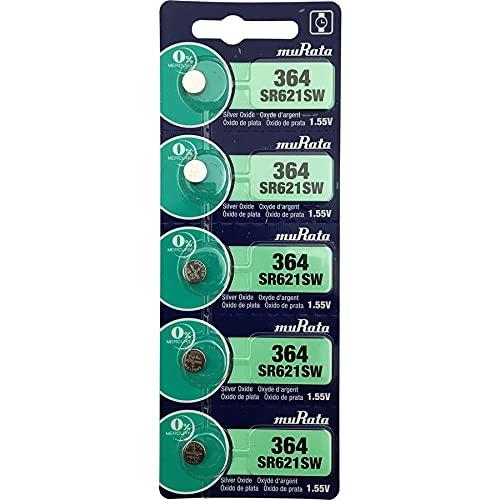 村田製作所 ムラタ(旧ソニー) 364 SR621SW 5個 ボタン電池 sr621sw 電池 1.55V 海外パッケージ 20mAh×5個