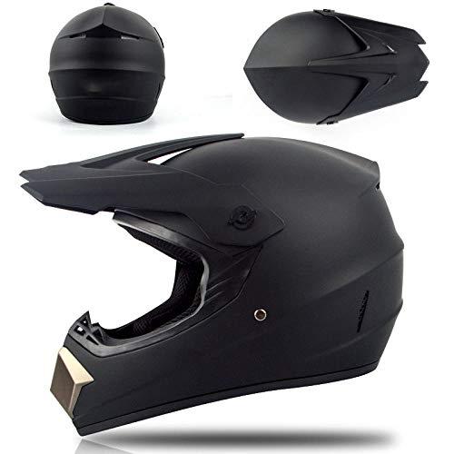 Motorhelm elektrische mountainbike off-road helm stoere kartcompetitie volledige helm veiligheidshelm-Mat Zwart_XL