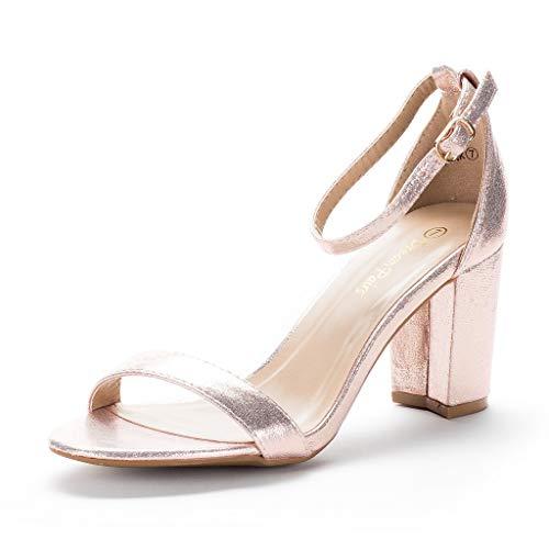 DREAM PAIRS Women's Chunk Champagne Low Heel Pump Sandals - 6.5 M US