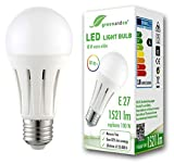 Bombilla LED greenandco IRC 90+ E27 18W (corresponde a 100W) opaca 1521lm 3000K (blanco cálido) 270° 230V AC, sin parpadeo, no regulable