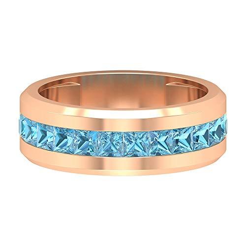 Anillo de compromiso de piedras preciosas, 1,3 quilates, 3 mm, corte princesa aguamarina, anillo de piedra de nacimiento de marzo, anillo de aniversario, 10K Oro rosa, Size:EU 44
