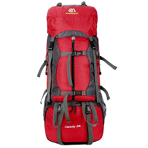 YLiansong-home Waterproof Travel Backpack 60L Large Hiking Backpack Outdoor Travel Mountaineering Climbing Camping Rucksack External Frame Camping (Color : Red, Size : 60L)
