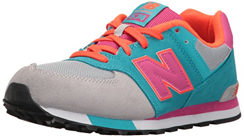 New Balance New Balance Unisex-Kinder 574 Cut and Paste Sneakers, Mehrfarbig (Grey/Turquoise), 38 EU