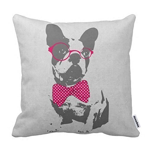 Decorbox Cute Funny Trendy Vintage Animal French Bulldog Pillow Home Style Cotton Decorative Couple Throw Pillow Cover Cushion Case
