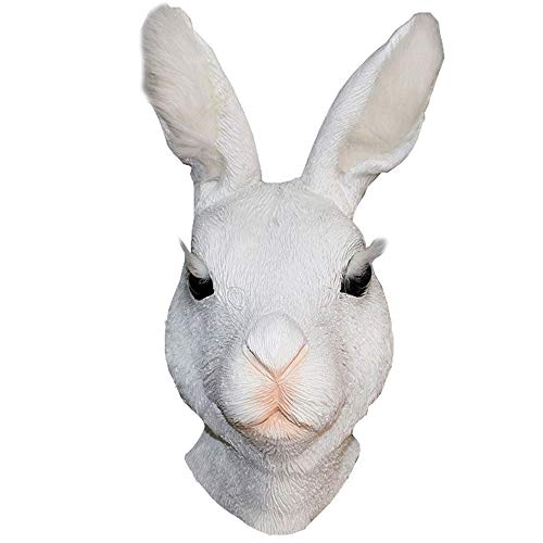 Novelty Rabbit Mask Animal Bunny Latex Mask Adult Rabbit Head Rubber Realistic Halloween Costume Rabbit Fancy Dress Up Cosplay Party White