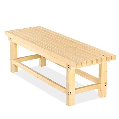 Lång bänk furu trä bänk pall säng pall badrum bastu bänk park promenad bänk fritidspall (färg: A, storlek: 100 x 35 x 40 cm)