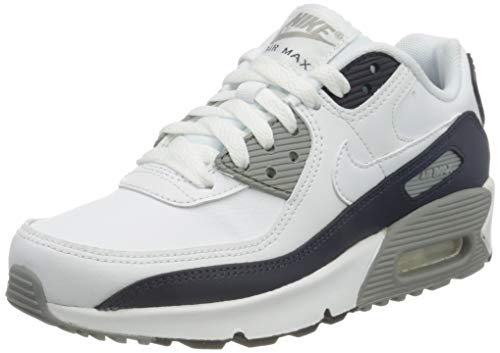 Nike Girls AIR MAX 90 LTR (GS) Running Shoe, White/White-Particle Grey-Obsidian, 38 EU