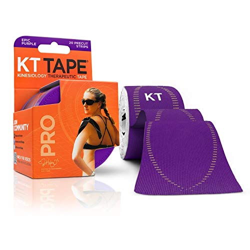 KT Tape Pro Kinesiology Therapeutic Sports Tape, 20 Precut 10 inch Strips, Epic Purple, Latex Free, Water Resistance, Pro & Olympic Choice