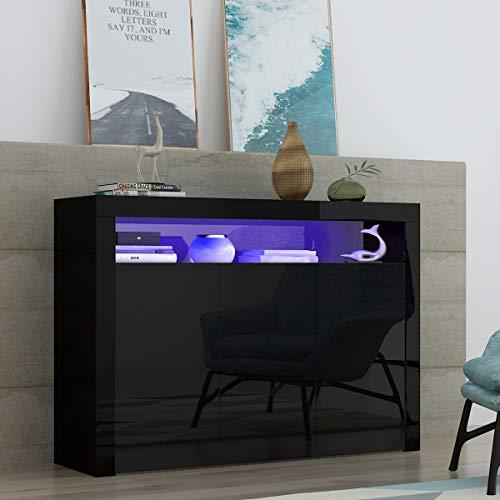 Keinode Sideboard mit 3 Türen, Hochglanz-Vorderschrank, LED-Leuchten in modernem Design, TV-Schrank, Möbel für Wohnzimmer, Esszimmer, Küche, Badezimmer, Schlafzimmer, Flur (schwarz)