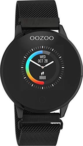 Oozoo Unisex Smartwatch mit Edelstahl Milanaiseband Schwarz 43 MM Q00119