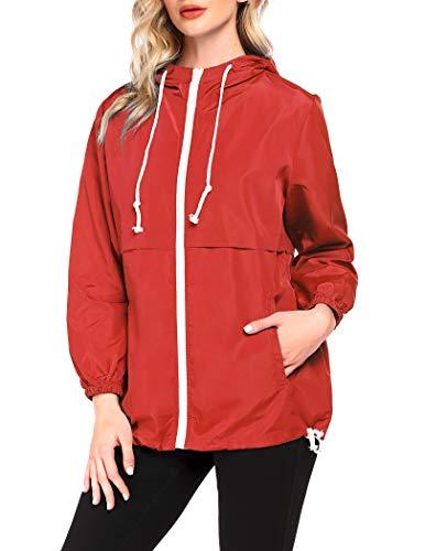 Unibelle - Giacca impermeabile da donna con cappuccio, impermeabile, traspirante, S-XXL Colore: rosso XL