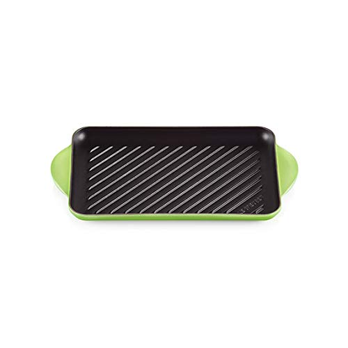 LE CREUSET Parrilla rectangular de 32 x 22 cm de hierro fundido, color verde palma.