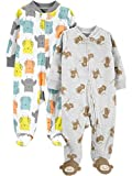 Simple Joys by Carter's 2-Pack Fleece Footed Sleep Play Infant-and-Toddler-Sleepers, Eule/AFFE, 3-6 Months