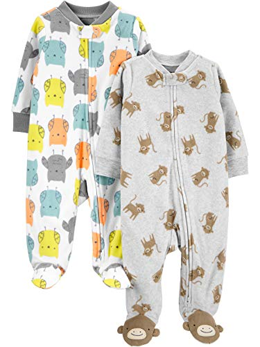 Simple Joys by Carter's 2-Pack Fleece Footed Sleep and Play Infant Toddler-Sleepers, Búho/Mono, 3-6 Meses, Pack de 2