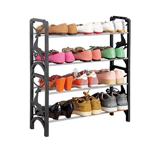 GENFALIN Estante del Zapato de 4 Capas de plástico apilables Negro Almacenamiento Ampliable Plataforma Botas Zapato Puerta del balcón Entrada de la Esquina de Entrada