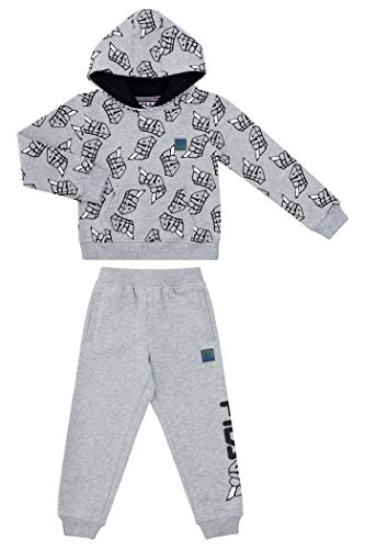 Fila Boys Two Piece Fleece Pant Sets with Hooded Sweatshirt Kids 2-7 Clothes (Heather Grey, 4T)