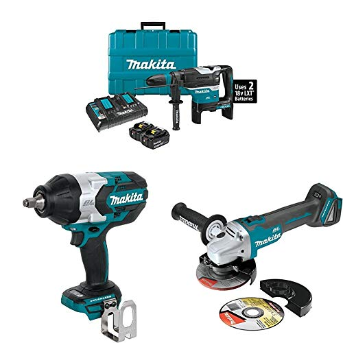 Makita XRH07PTU 18-Volt X2 LXT Brushless Cordless 1-9/16 in. Rotary Hammer Kit, with AWS (5.0Ah) with XWT08Z 1/2 inch Sq. Drive Impact Wrench and XAG04Z 4-1/2 inch / 5 inch Cut-Off/Angle Grinder