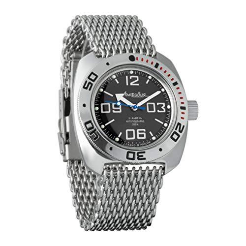 VOSTOK Amphibian 710819 - Reloj de Pulsera para Hombre (Correa de Malla de 200 m, diseño de la Bandera de Reino Unido)