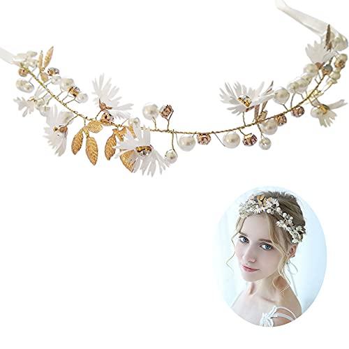 Couronne Fleur Cheveux Fleur Bandeau avec Ruban Mariage Serre-Tête Headband pour Femme Enfant Mariée Demoiselles d'Honneur