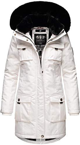 Navahoo Damen Winter Jacke Parka Mantel Teddyfell warm gefüttert inkl. Stofftasche Premium B845 [B845-Tin-Weiss-Gr.S]