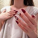 ZHEN 24 Unids/set Pure Color Zircon Cadena uñas artificiales Encantadoras puntas ovaladas de cristal grande Presione uñas postizas cortas