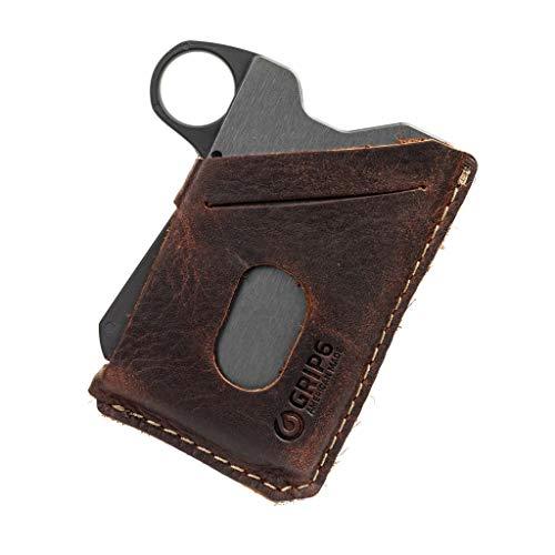 GRIP6 Loop Slim Minimalist Wallets For Men-Gunmetal w/Brown Leather
