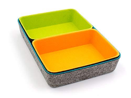 Luxflair Filz Büroboxen 3er Set, ideal als Organizer zur Aufbewahrung von Büroartikeln, Kosmetik, kleineren Gegenständen Zuhause oder im Büro