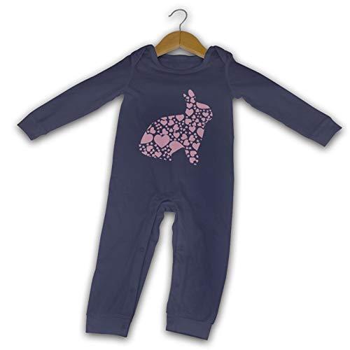 WushXiao Baby Crawler Heart Pink Bunny Long Comfort Black Gr. 18 Monate, navy