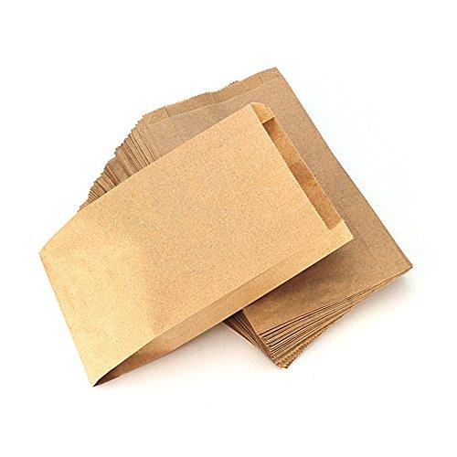 RUBY - 100 Kraft bolsa de papel marrón, bolsas de regalo/bolsas de fiesta/calendario de adviento/navidad/bodas/fiestas de cumpleaños/mercados/cafeterías (15cm x 26cm, 100 unids)