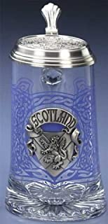 Scotland German Glass Beer Stein Scottish Mug Pewter Knotwork Thistles Decal