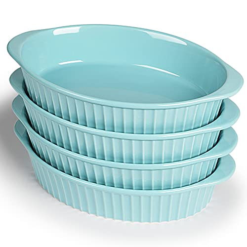 LEETOYI Porcelain Small Oval Au Gratin Pans,Set of 4 Baking Dish Set for 1 or 2 person servings, Bakeware with Double Handle for Kitchen and Home (Turquoise)