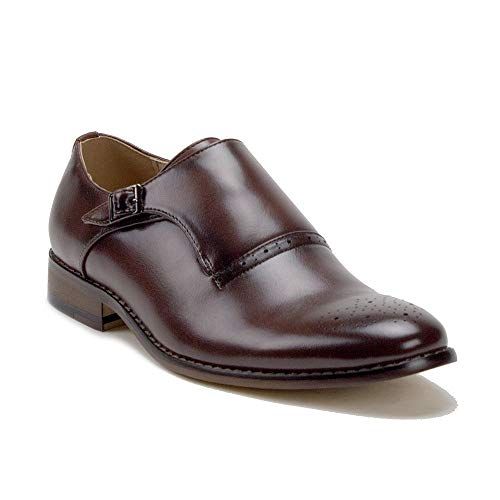 Men's Single Monk-Strap Slip On Perforated Toe Dress Loafers Shoes, Dark Brown, 13