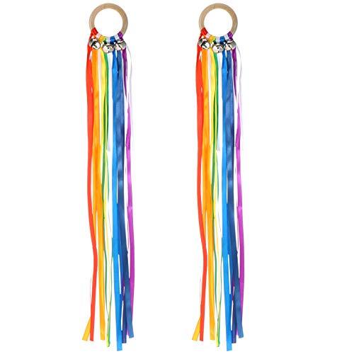 Toddmomy 4 piezas de cascabeles de mano arcoíris con banda de colores para la mano, cascabeles Waldorf, anillos sensoriales para niños pequeños, Montessori, campana, sonajero, varita mágica, juguete