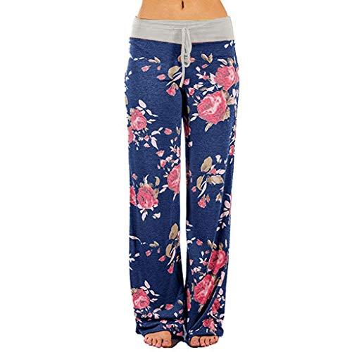 HWTOP Hosen Haremshose Bequeme Stretch Pumphose Loungehose mit Blumendruck für Damen Yogahosen mit Kordelzug Palazzo mit Weitem Bein Baggy Hose, Grau