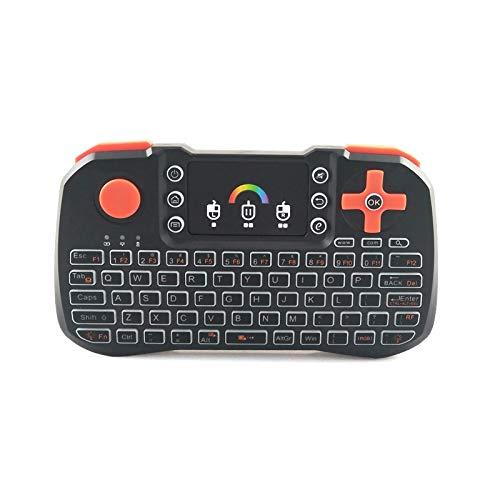HechoVinen Mini Tastatur 2. 4Ghz Wireless Game Controller Tastatur mit Maus Touchpad Bunte Backlit für Internet Box HTPC Android TV Box Laptop Computer Smart TV Etc