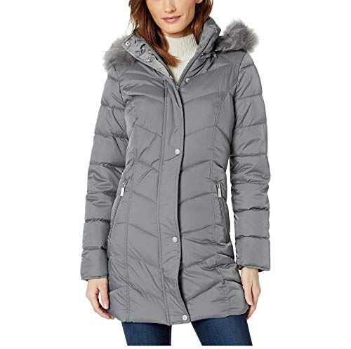 Kenneth Cole New York Women's Quilted Mid-Length Puffer Coat Gray Size M