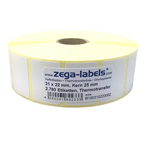 Thermotransfer Etiketten auf Rolle - 31 x 22 mm - 2.780 Stück je Rolle - Kern: 25 mm - aussen gewickelt - permanent haftend - Druckverfahren: Thermotransfer (Drucken mit Farbband)