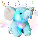 Cuteoy Musical LED Plush Elephant Stuffed Animal Light up Soft Toy with Night Lights Singing Lullabies Great Gifts for Toddlers Kids Children Blue, 11''