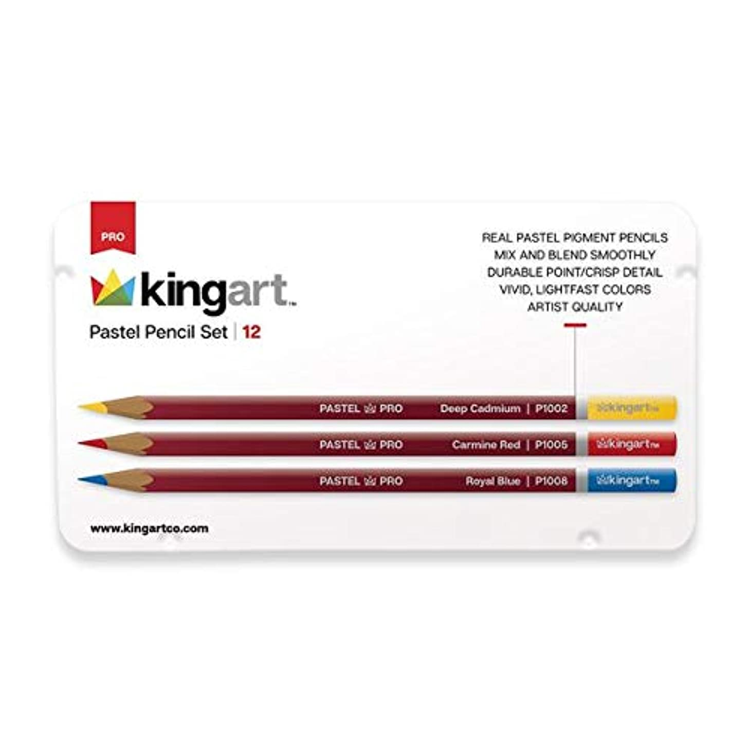 KINGART 340-12 Metal Tin Case, Set of 12 Unique Colors Pastel Pencils, 12 Piece