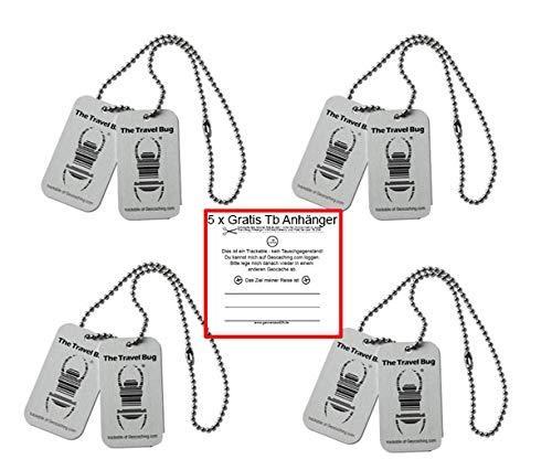 geo-versand 4 x Geocaching TravelBug Origin Silber CopyTag Standard Geocaching trackable Set