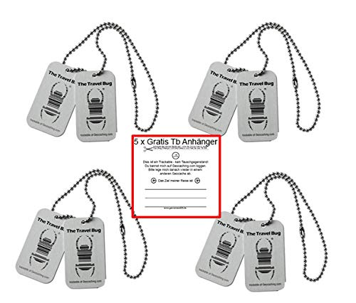 geo-versand 4 x Geocaching TravelBug Origin Silber CopyTag Standard Geocaching trackable Set