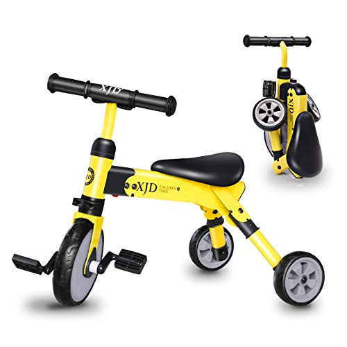 XJD 2 in 1 Kids Tricycles for 2 Years Old and Up Boys Girls Tricycle Kids Trike Toddler Tricycles for 2-4 Years Old Kids Toddler Bike Trike 3 Wheels Folding Tricycle Kids Walking Tricycle