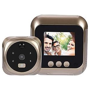 ASHATA Mirilla Digital Seguridad Cámara Monitor para Puerta con 4 Luces LED IR y Pantalla TFT LCD 300 mil Píxeles,Apoyo Detección de Movimiento/Visión Nocturna/6 Timbres Disponibles